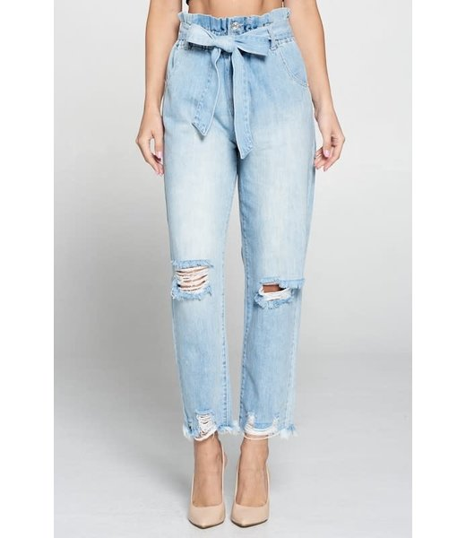 Natty Grace Paper Chasing Paperbag Mom Jeans