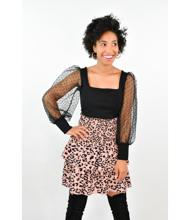 Natty Grace Top Tier Leopard Print Skirt