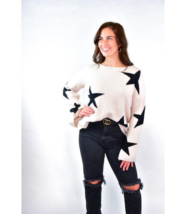 Natty Grace Lucky Star Scoop Neck Sweater