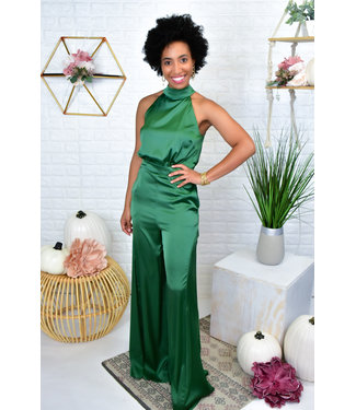 Natty Grace Emerald Satin Halter Jumpsuit
