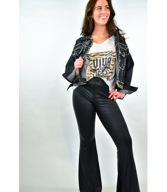 Natty Grace Black Out Python Faux Leather Flares