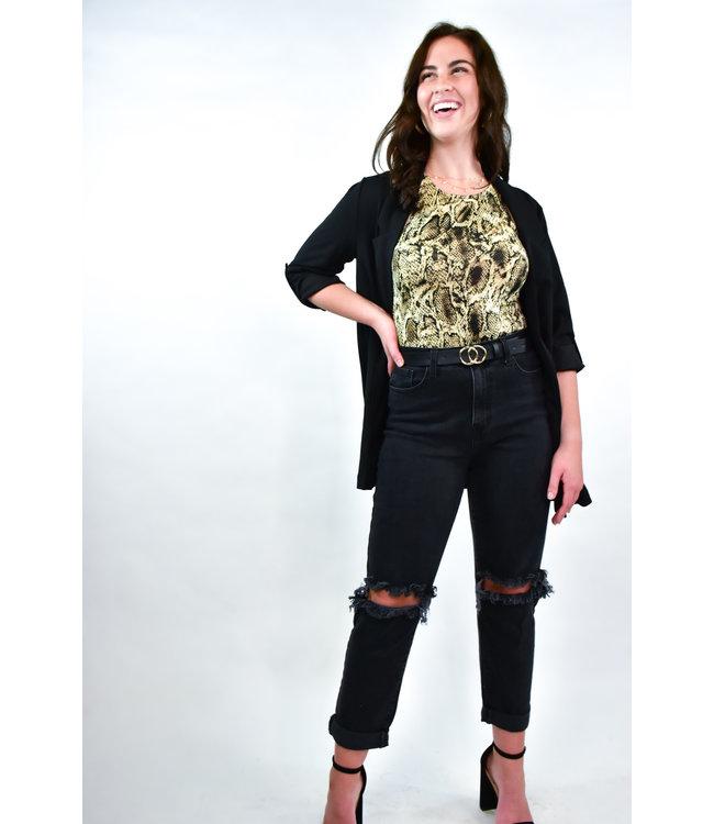 Natty Grace Secret's Out Snake Print Bodysuit