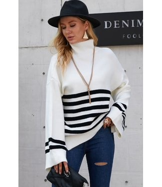 Natty Grace Whitney Striped Bell Sleeve Turtleneck