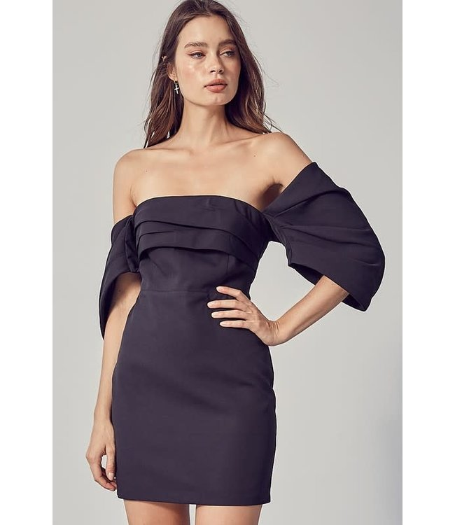 Natty Grace Miss LBD Off Shoulder Fitted Dress