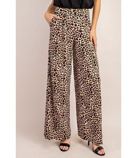 Natty Grace Eleanor Leopard Print Pleated Pants
