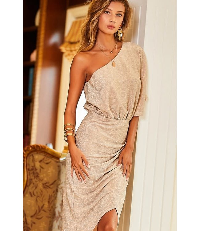 Natty Grace Beige Babe One Shoulder Midi Dress