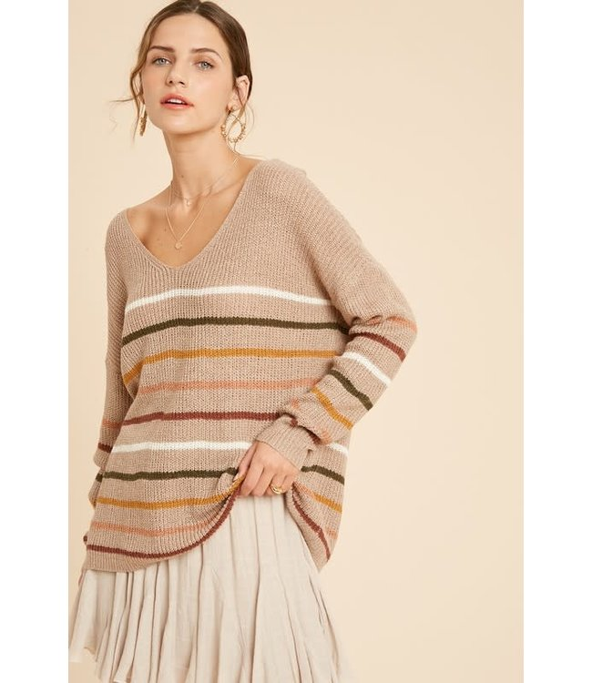 Natty Grace Mocha Blend Striped Pullover