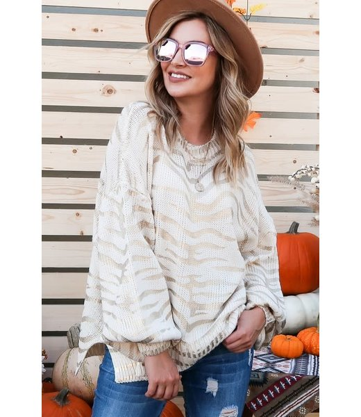 Natty Grace Show Your Stripes Tiger Print Sweater