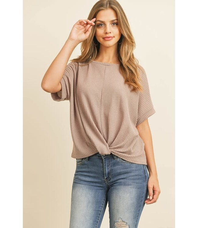 Natty Grace All Natural Twist Hem Waffle Knit Top