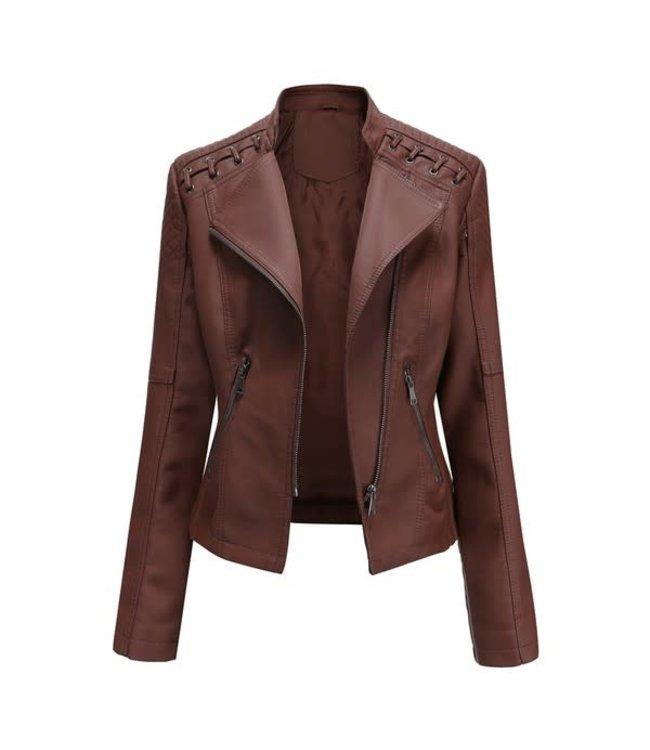 Natty Grace Biker Chic Faux Leather Jacket