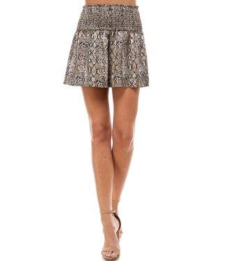 Natty Grace Aspen Snakeskin Smocked Waistband Shorts