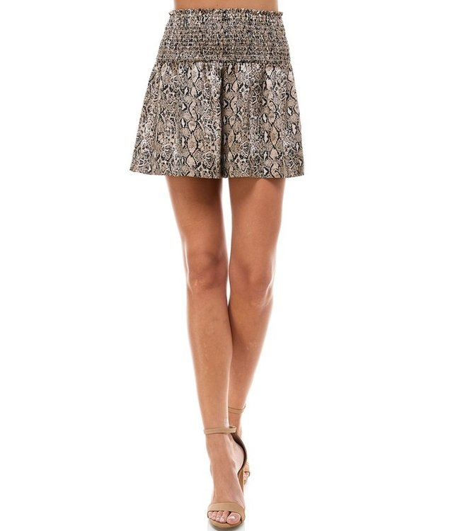 Natty Grace Aspen Snakeskin Smocked Waistband Shorts