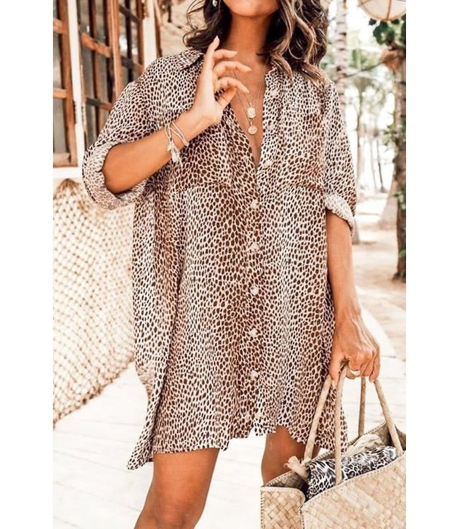 Natty Grace Gianna Leopard Button Down Dress