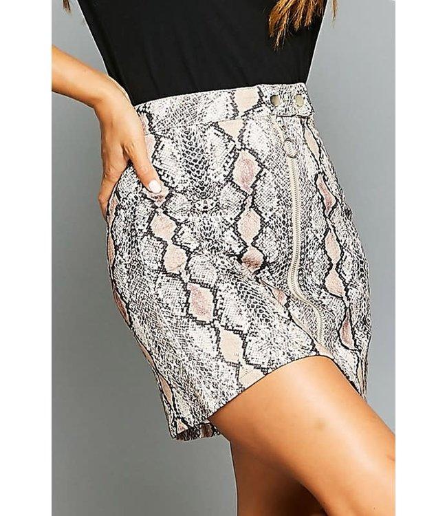 Natty Grace Sol Snake Print Denim Skirt