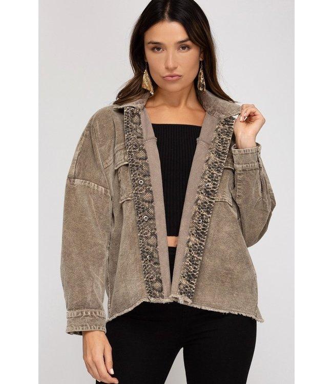 Natty Grace Skye Snake Contrast Woven Jacket