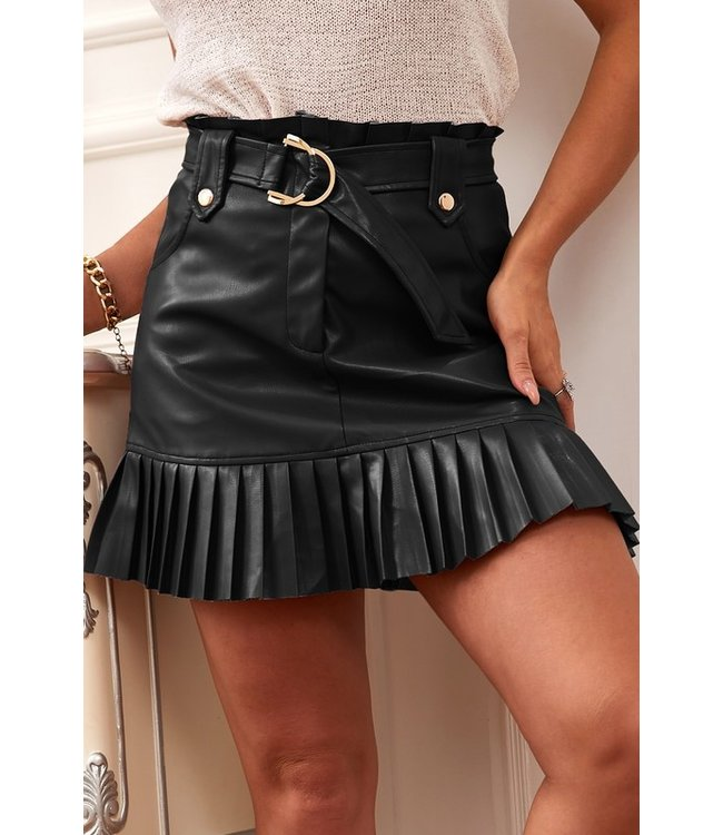 Natty Grace Fallon Faux Leather Pleated Skirt