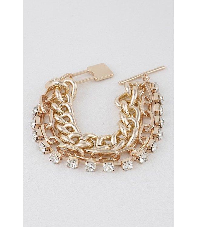 Natty Grace Cassie Chain Link 3 Layer Bracelet