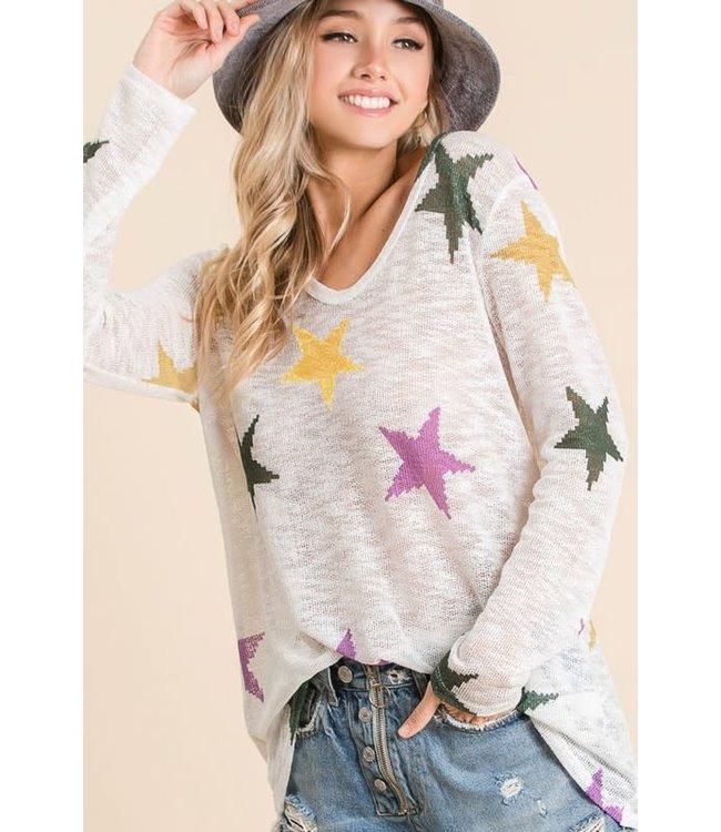 Natty Grace Nola Stars Mardi Gras Knit Top