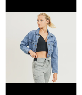 Natty Grace Reina Ribbed Hem Cropped Denim Jacket