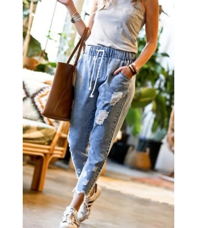 Natty Grace Elle Elastic Waistband Denim Pants