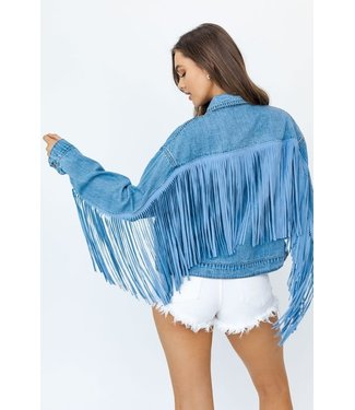 Natty Grace Just Fringe-y Denim Jacket