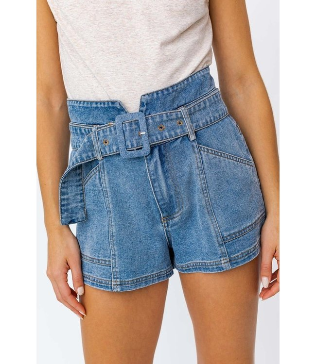 Natty Grace Heidi Paperbag Belted Denim Shorts