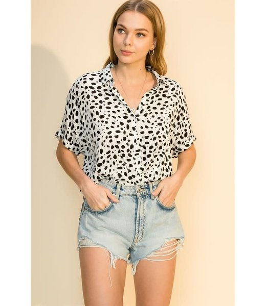 Natty Grace Take Your Mark Spotted Blouse