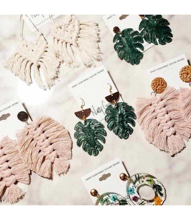 P U K K A by Natty Grace Tropic Palm Leaf Earrings