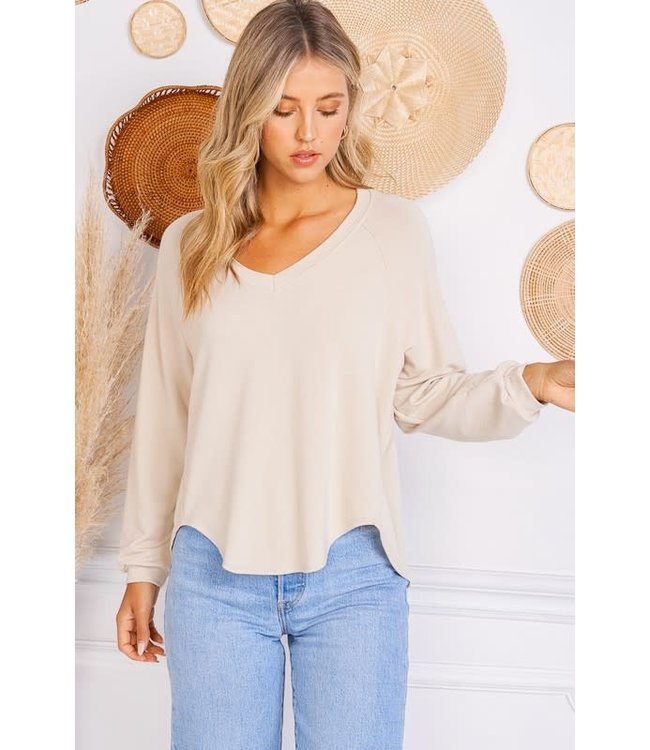 Natty Grace In My Feels Ribbed V-neck Sweater Top