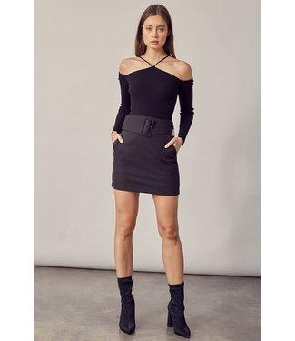 Natty Grace Call Me Chic Belted Black Mini Skirt