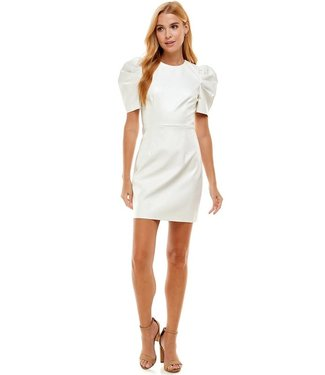 Natty Grace Who Is She Puff Sleeve Faux Leather Dress