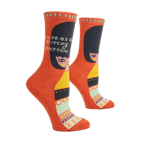 Blue Q Ladies B*tchy Button Crew Socks