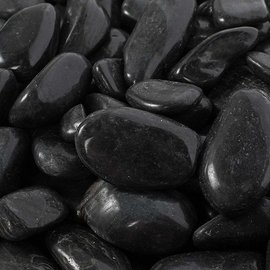 "Pebbles, Black Polished - 1"" to 2"""