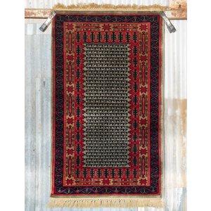 2 ½' x 4' Indian Handmade Light Blue/Red Pashmina Rug