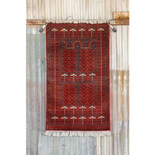 2 ½' x 4' Indian Handmade Red Cashmere Rug