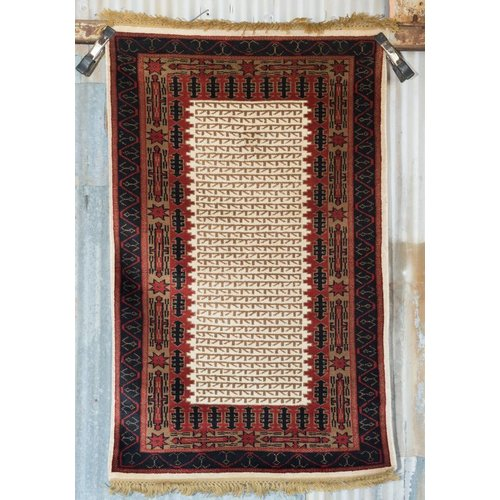 2 ½' x 4' Indian Handmade Red/Black Pashmina Rug