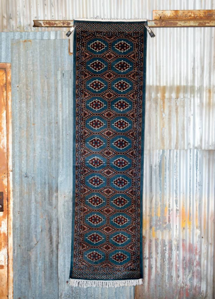 2 ½' x 8' Indian Handmade Blue Tribal Cashmere Rug