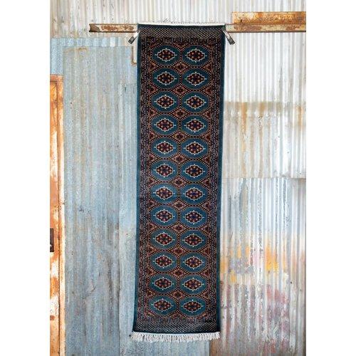 2 ½' x 8' Indian Handmade Blue Tribal Cashmere Rug