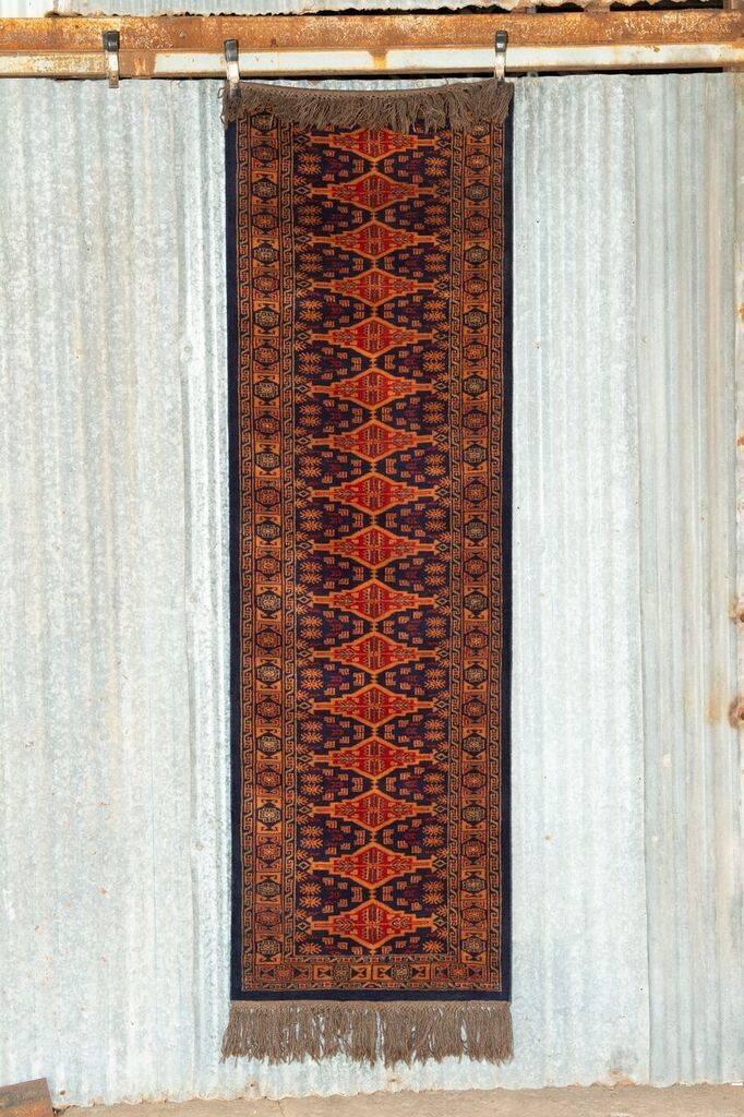 2 ½' x 8' Indian Handmade Navy Blue/Orange Pashmina Rug