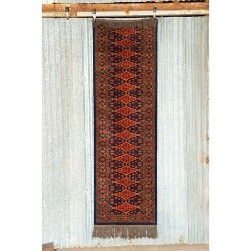 2 ½' x 8' Indian Handmade Navy Blue/Orange Pashmina Rug