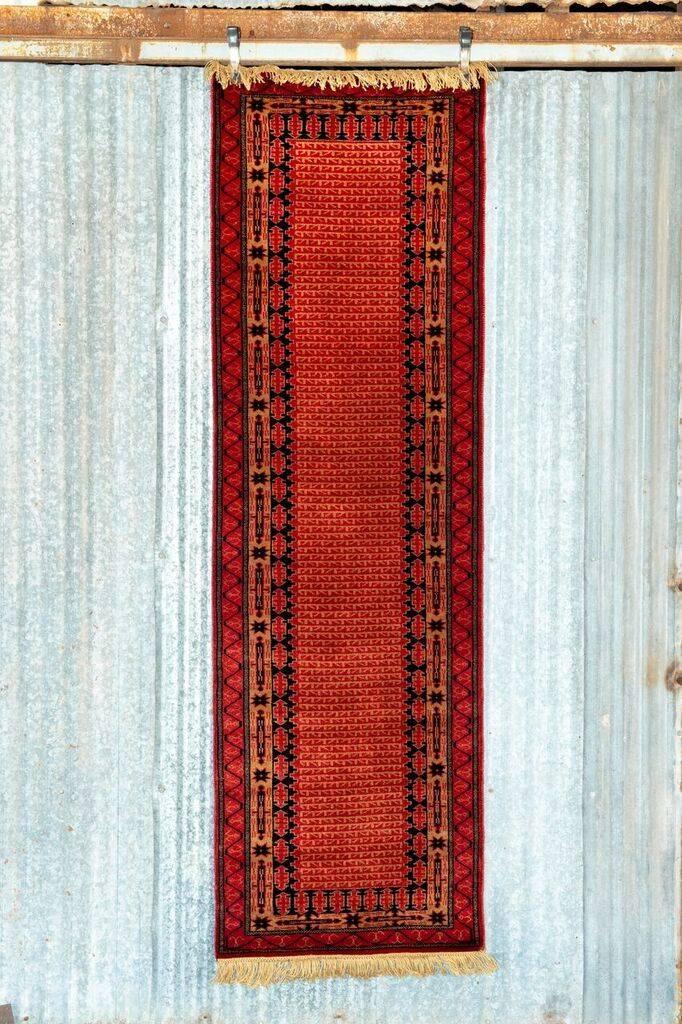 2 ½' x 8' Indian Handmade Red Runner Pashmina Rug