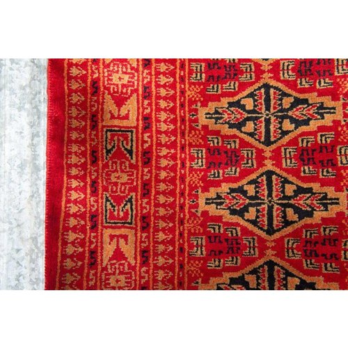2 ½' x 8' Indian Handmade Red Tribal Pashmina Rug