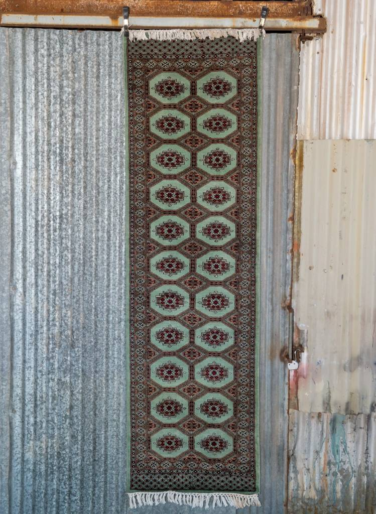 2 ½' x 8' Indian Handmade Turquoise Cashmere Rug