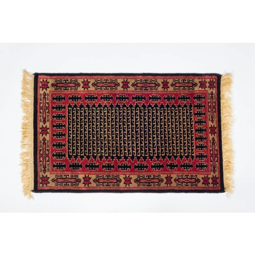 2' x 3' Indian Handmade Black/Red Pashmina Rug