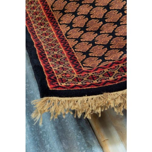 2' x 3' Indian Handmade Black/Red Pashmina Rug