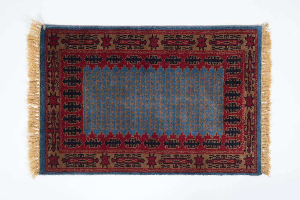 2' x 3' Indian Handmade Blue/Red Pashmina Rug