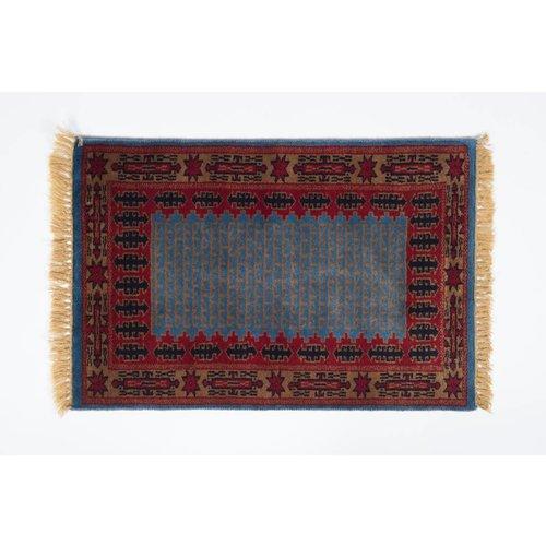 2' x 3' Indian Handmade Blue/Red Pashmina Rug