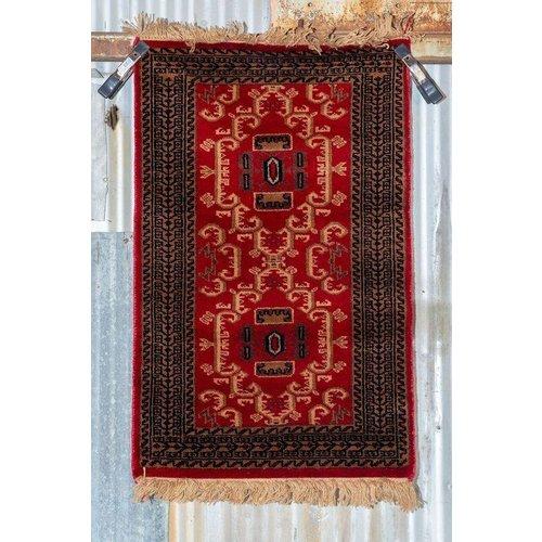2' x 3' Indian Handmade Brown/Red Pashmina Rug
