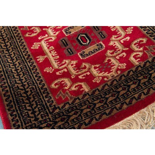 2' x 3' Indian Handmade Brown/Red Pashmina Rug