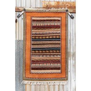 2' x 3' Indian Handmade Light Green/Orange Cashmere Rug